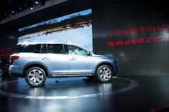 亚洲中国,北京, 2016国际性组织汽车陈列,室内展览室, Trumpchi汽车 免版税图库摄影