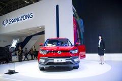 亚洲中国,北京, 2016国际汽车陈列,室内展览室, Ssangyong XLV 免版税库存照片