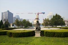 亚洲中国,天津,音乐公园,贝多芬雕象 免版税库存照片