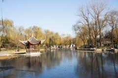 亚洲人中国、北京、陶然亭公园、冬天风景、亭子、大阳台和开放大厅 免版税图库摄影
