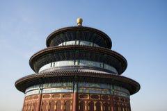 亚洲人中国,北京,历史建筑,天坛公园,祷告大厅用好收获的 库存照片