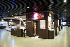 亚洲人中国,北京,古老animalï ¼ ŒIndoor展览室,化石博物馆  免版税图库摄影