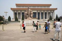亚洲人中国,北京,毛泽东主席纪念堂 库存照片