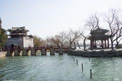 亚洲人中国,北京,颐和园,郅chun亭子 免版税库存照片