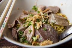亚洲人北京烤鸭汤面 库存图片