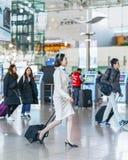 亚洲人大韩航空飞行空中小姐在I国际机场  免版税库存照片