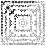 亚洲人套样式和装饰品 套无缝的边界,是 免版税库存图片