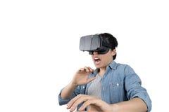 亚洲人用途VR 免版税库存照片
