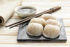 亚洲人被蒸的肉饺子粤式点心 库存图片