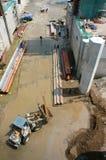 亚洲人,建造场所,挖泥机,河床, rigation系统 免版税图库摄影