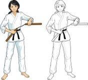 亚洲人karategi的Nunchuck女孩 免版税图库摄影