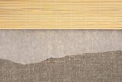 亚麻制织品寿司席子 亚麻制背景羊皮纸 库存图片