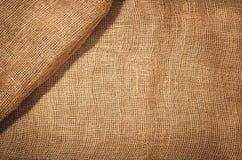 亚麻制黄麻织品背景 可看见的纹理 免版税图库摄影