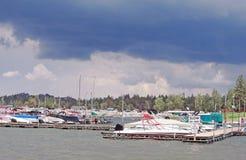 亚洲贝加尔湖覆盖海岛湖olkhon俄国雷暴视图 免版税库存图片