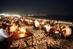 亚洲印度尼西亚巴厘岛海滩努沙DUA SEEAFOOD餐馆 免版税库存照片