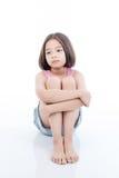 亚洲哀伤的女孩开会画象  免版税库存照片