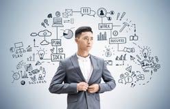 亚洲商人和企业计划,灰色 免版税图库摄影