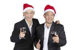 亚洲商人有庆祝他们的成功在圣诞节 免版税图库摄影