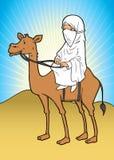 亚洲回教妇女和骆驼 向量例证