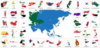 亚洲国旗地图 库存图片
