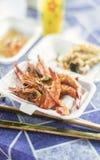 亚洲国王大虾在kep柬埔寨餐馆 免版税图库摄影
