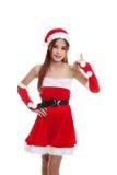 亚洲圣诞节圣诞老人女孩赞许 库存图片