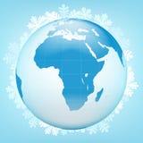 亚洲在冬天季节传染媒介的地球视图 库存照片