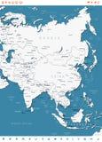 亚洲-地图和航海标签-例证 免版税图库摄影