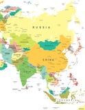 亚洲-地图-例证 库存照片