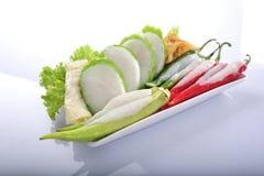 亚洲地方食物雍Tau Foo或尼昂窦傅 免版税库存照片