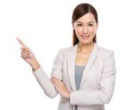 亚洲女商人fingerup 免版税库存图片