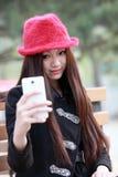 亚洲女孩自画象 免版税库存照片