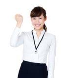 亚洲女实业家振作起来 免版税库存照片