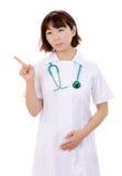 亚洲女性护士指向 免版税库存图片