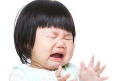 亚洲女婴哭泣 免版税库存图片