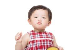 亚洲女婴赞许 库存图片