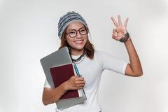 亚洲妇女微笑 免版税库存照片