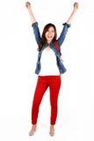亚洲学生跳跃 免版税库存图片