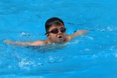 亚洲孩子在游泳池游泳-蝴蝶样式采取深呼吸 免版税库存照片