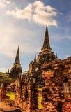 亚洲宗教建筑学古老塔看法在Wat Phra Sri Sanphet历史公园, Ayuthaya省,泰国 库存图片