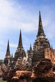 亚洲宗教建筑学古老塔看法在Wat Phra Sri Sanphet历史公园, Ayuthaya省,泰国 免版税图库摄影