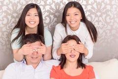 亚洲家庭画象  免版税图库摄影