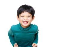 亚洲小男孩很激动 库存照片