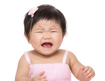 亚洲尖叫的女婴 免版税库存照片