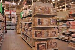 亚麻布在超级市场 库存照片