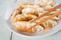 亚洲开胃菜平底锅油煎的饺子 免版税库存照片