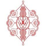 亚洲文化启发了从在红色的叶子做的婚礼构成无刺指甲花纹身花刺装饰两叶子形状花卉装饰和 库存图片