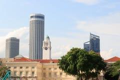 亚洲文明博物馆和钟楼在新加坡 免版税库存照片