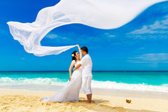 亚洲新娘和新郎在一个热带海滩 婚礼和蜜月 免版税库存图片
