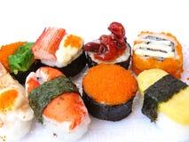 亚洲日本食物 寿司和寿司卷集合 免版税库存照片